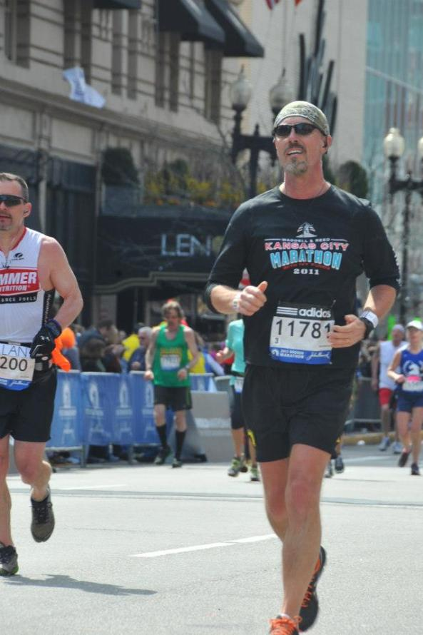 My wife, Loretta, took this photo at about mile 24 of the Boston Marathon.