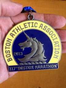 My finishers medal from the Boston Marathon